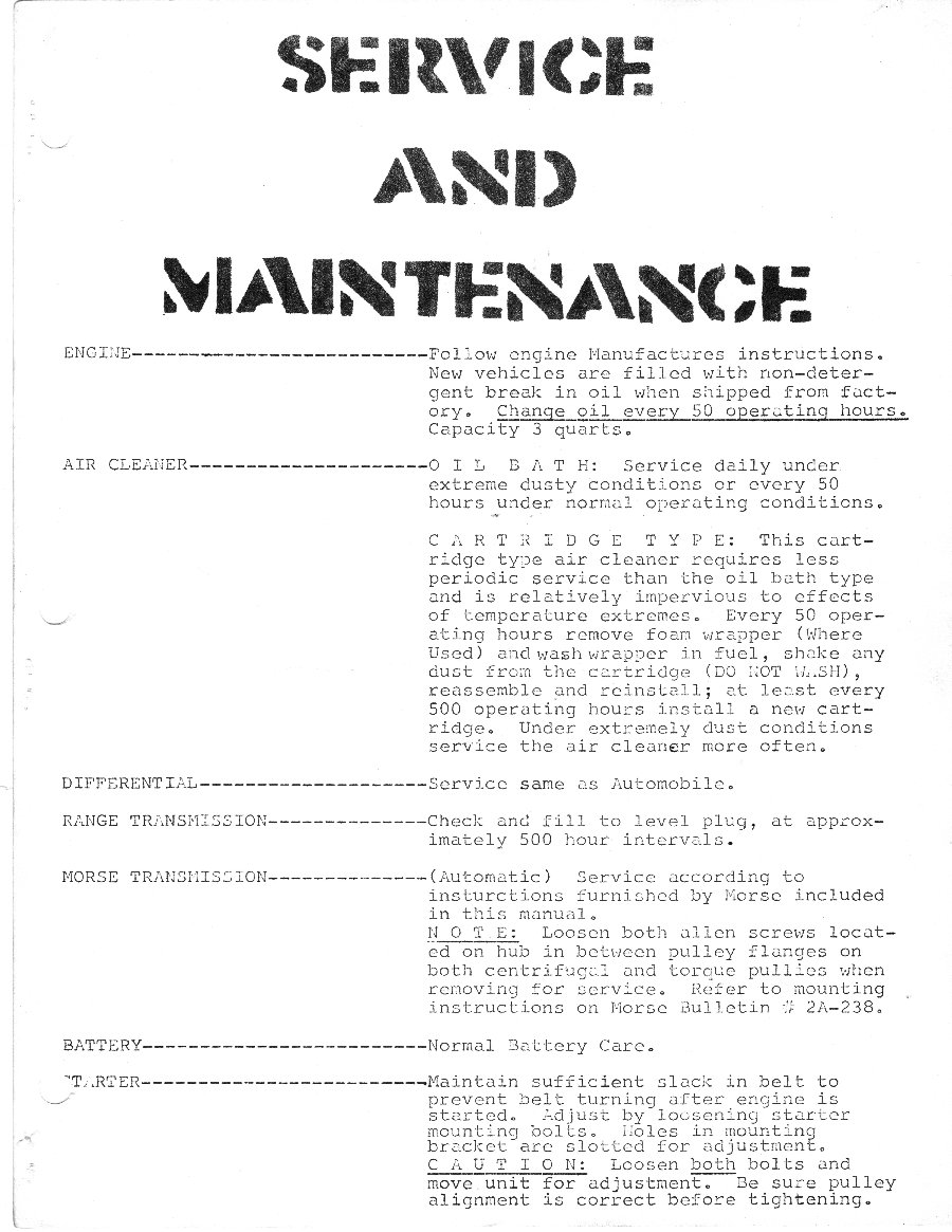 Service and Maintenance Page 1